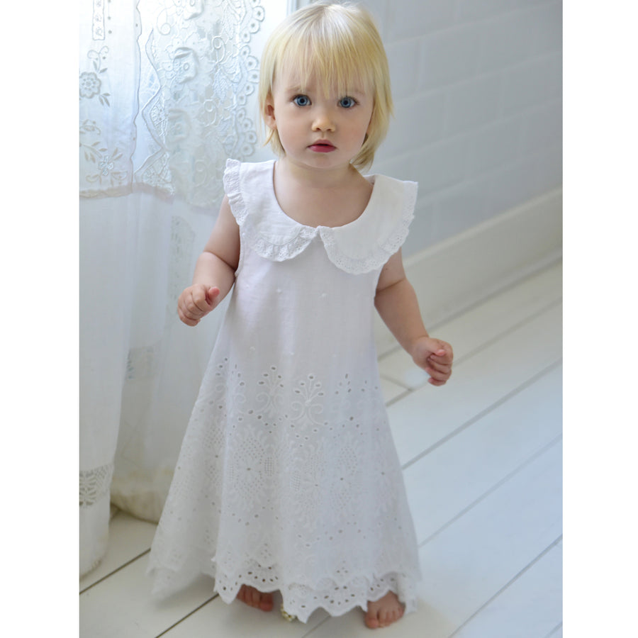 White Lace Embroidered Sleeveless Dress