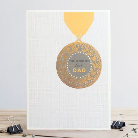 """World's Best Dad"" Medal Greeting Card"