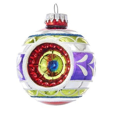 Early Years Glass Multi-Color Reflector Ball Ornaments, 4-Piece Box Set | Putti Christmas