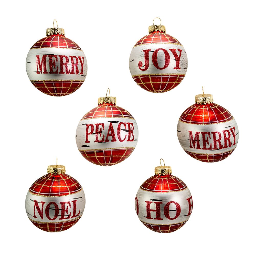 Kurt Adler Glass Black and Red Plaid Ball Ornaments With Sayings | Putti