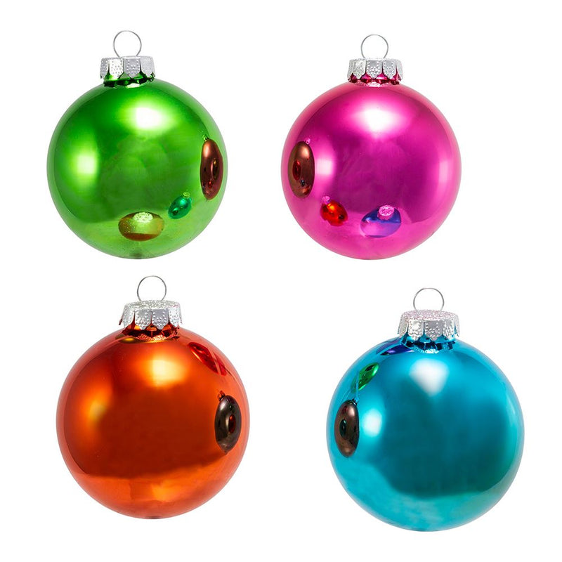 Brightly Colored Shiny Glass Ball Ornaments