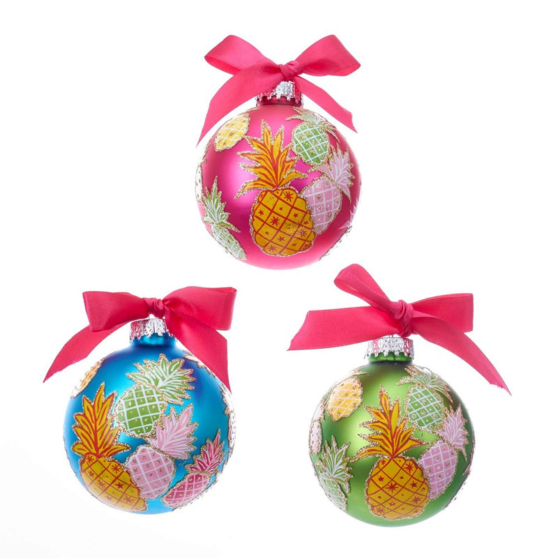 Kurt Adler Pineapple Pattern Glass Ball Ornaments