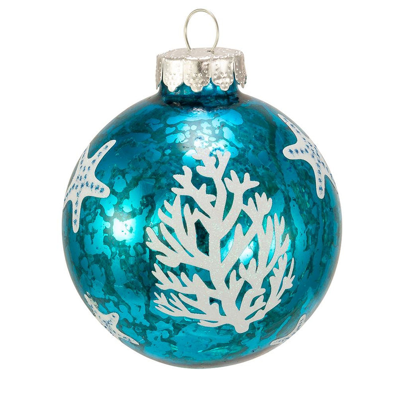 Glass Blue and White Under The Sea Design  Glass Ball Christmas Ornaments