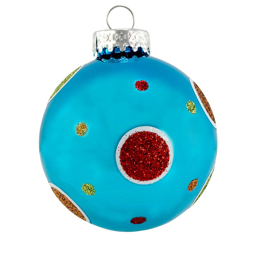 Kurt Adler Bright Multi-Color With Polka Dots Glass Ball Ornaments