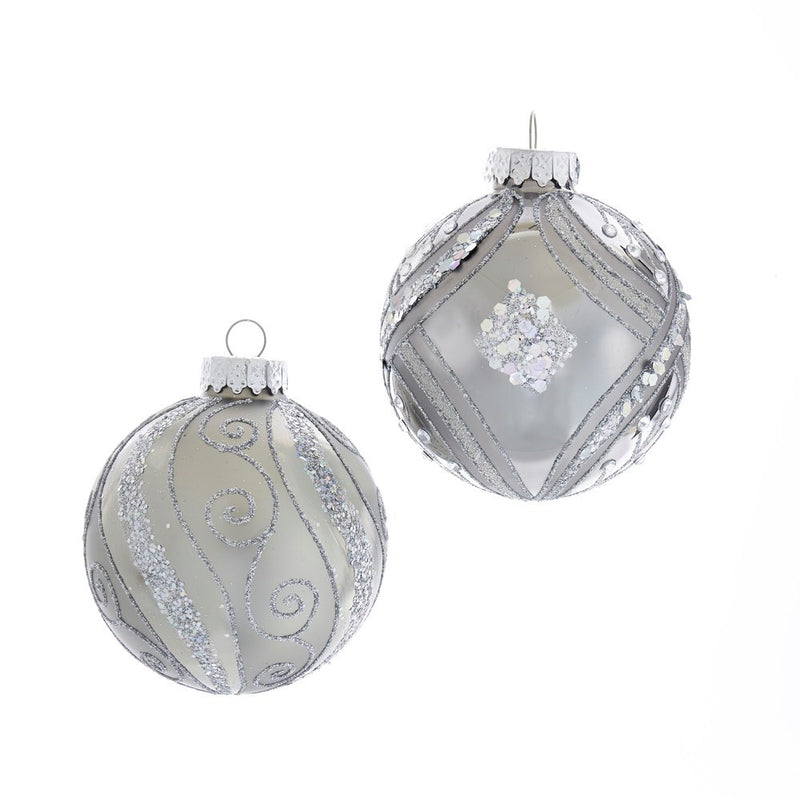 Kurt Adler Silver With Silver Glitter Pattern Glass Ball Ornaments - 6 Piece Box Set