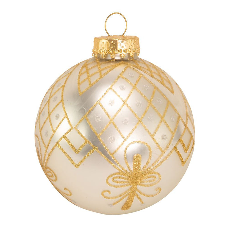 Kurt Adler Silver With Silver and Gold Glitter Design Ball Ornaments | Putti