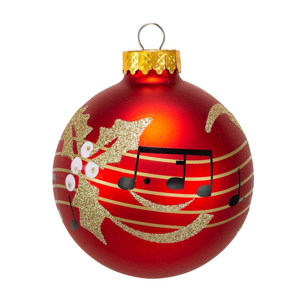 Kurt Adler Red With Music Notes Glass Ball Ornaments