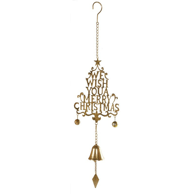 "Gold Hanging ""We Wish You a Merry Christmas"" Bell, CH-Coach House, Putti Fine Furnishings"