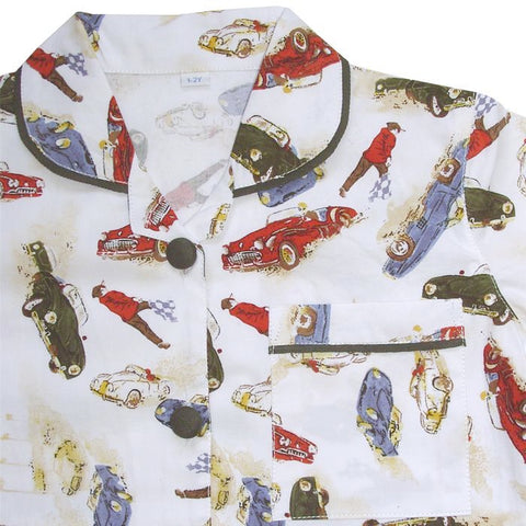 """Roger"" Vintage Racing Car Pyjamas-Nightwear-PC-Powell Craft Uk-Age 2-3-Putti Fine Furnishings"