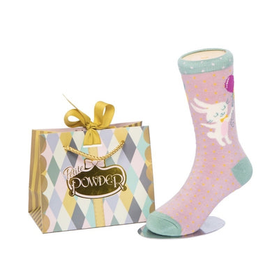 Powder Uk Little Girl's Ankle Socks - Bunny & Balloon, PDL-Powder Design Limited, Putti Fine Furnishings