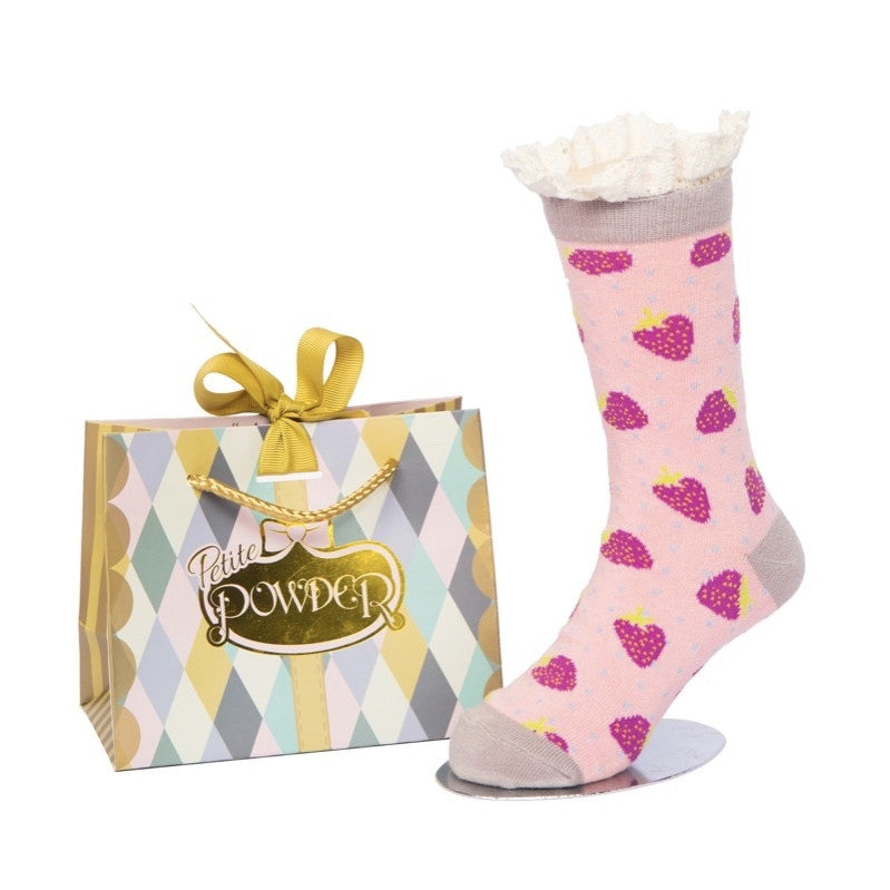Powder Uk Little Girl's Ankle Socks - Strawberry Lace Top, PDL-Powder Design Limited, Putti Fine Furnishings