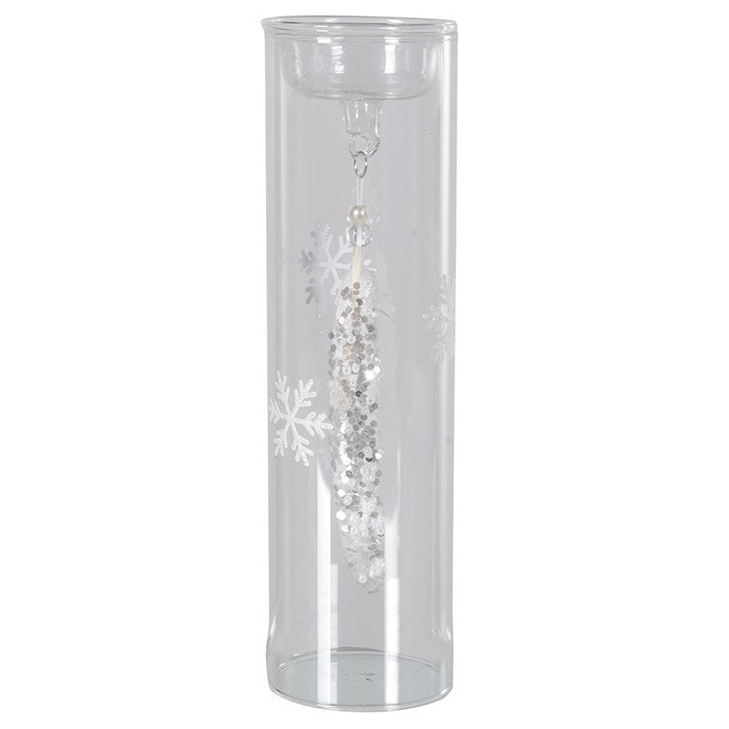 Glass Tea Light with Hanging Feather, CH-Coach House, Putti Fine Furnishings