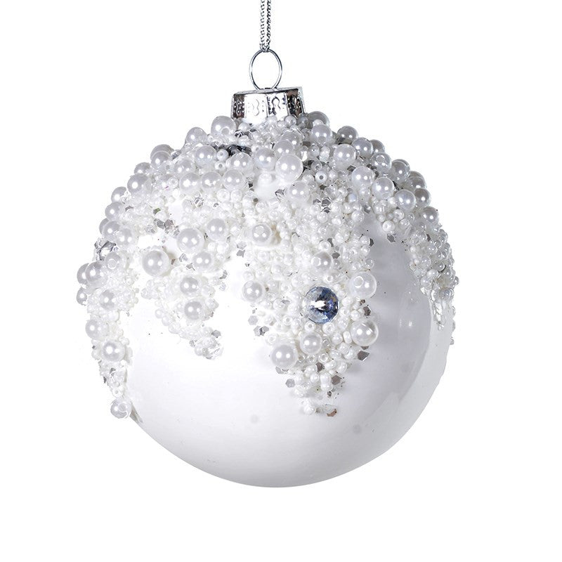 White Glass Bauble with Pearls and Jewels