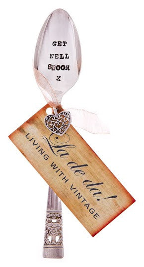 """Get well spoon "" Vintage Tea Spoon -  Flatware - La De Da Living - Putti Fine Furnishings Toronto Canada - 1"