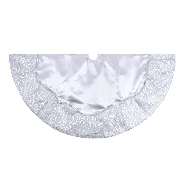 Kurt Adler Silver Satin with Border Tree Skirt | Putti Christmas