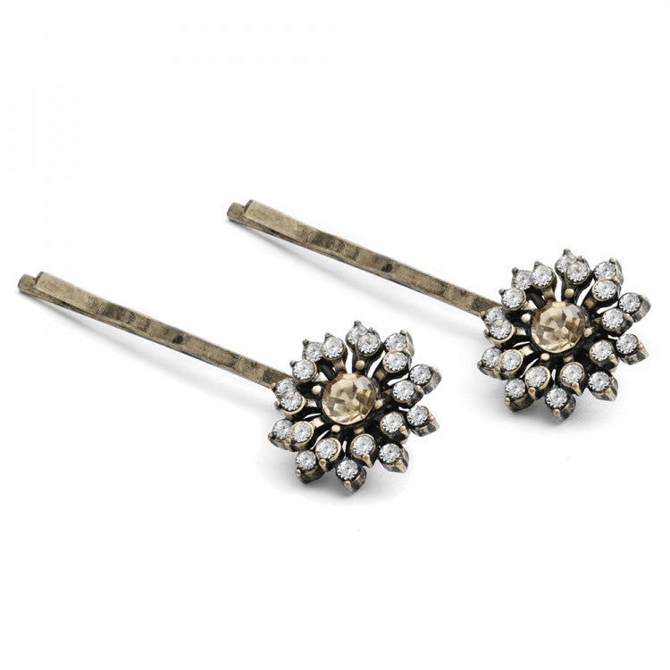 Lovett & Co Baroque Starburst Hairclips - Topaz