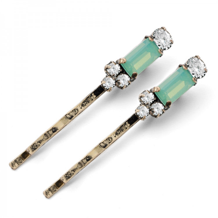 Lovett & Co Milk Stone Hairclips Pacific Opal