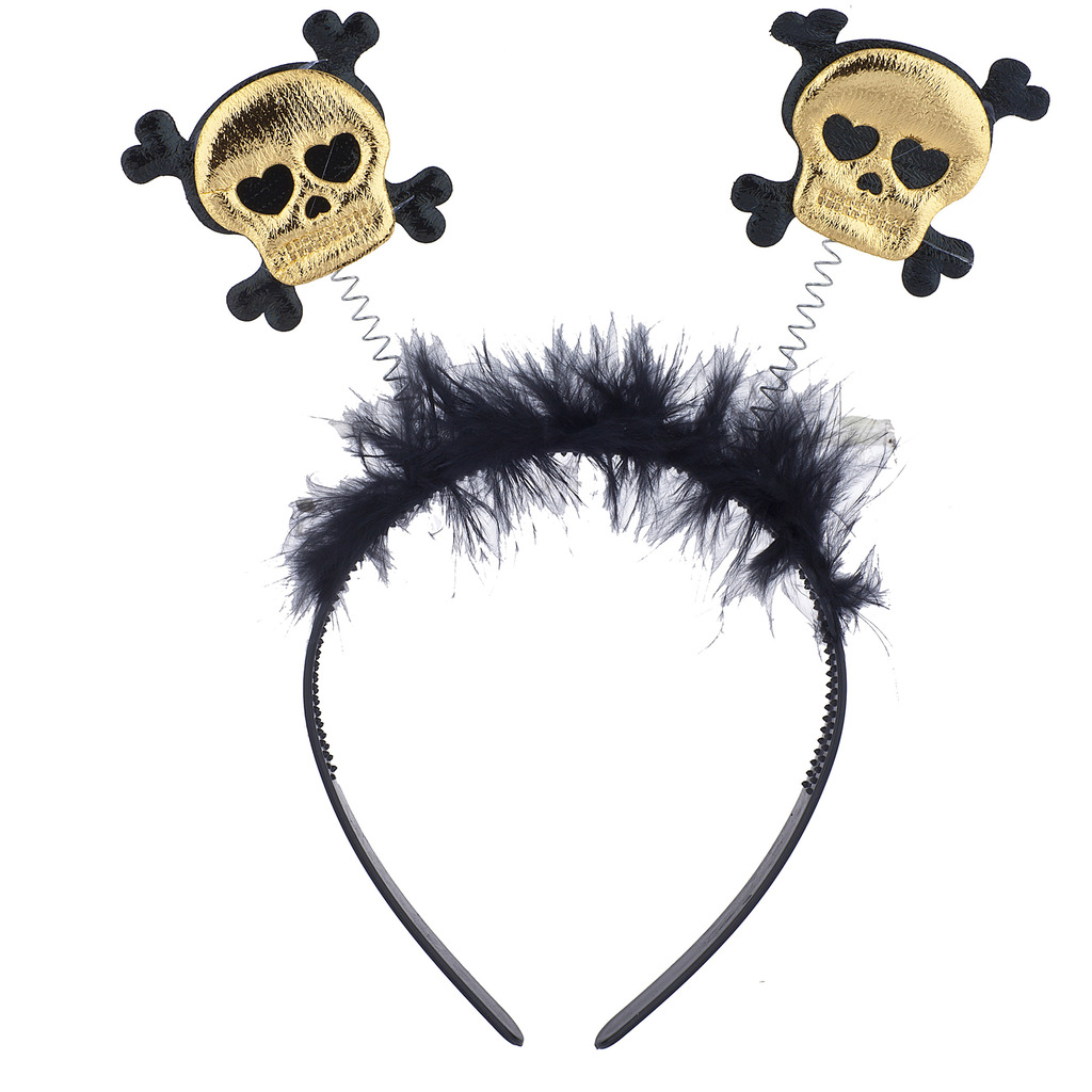 Black & Gold Skull Halloween Headband | Putti Halloween Costumes