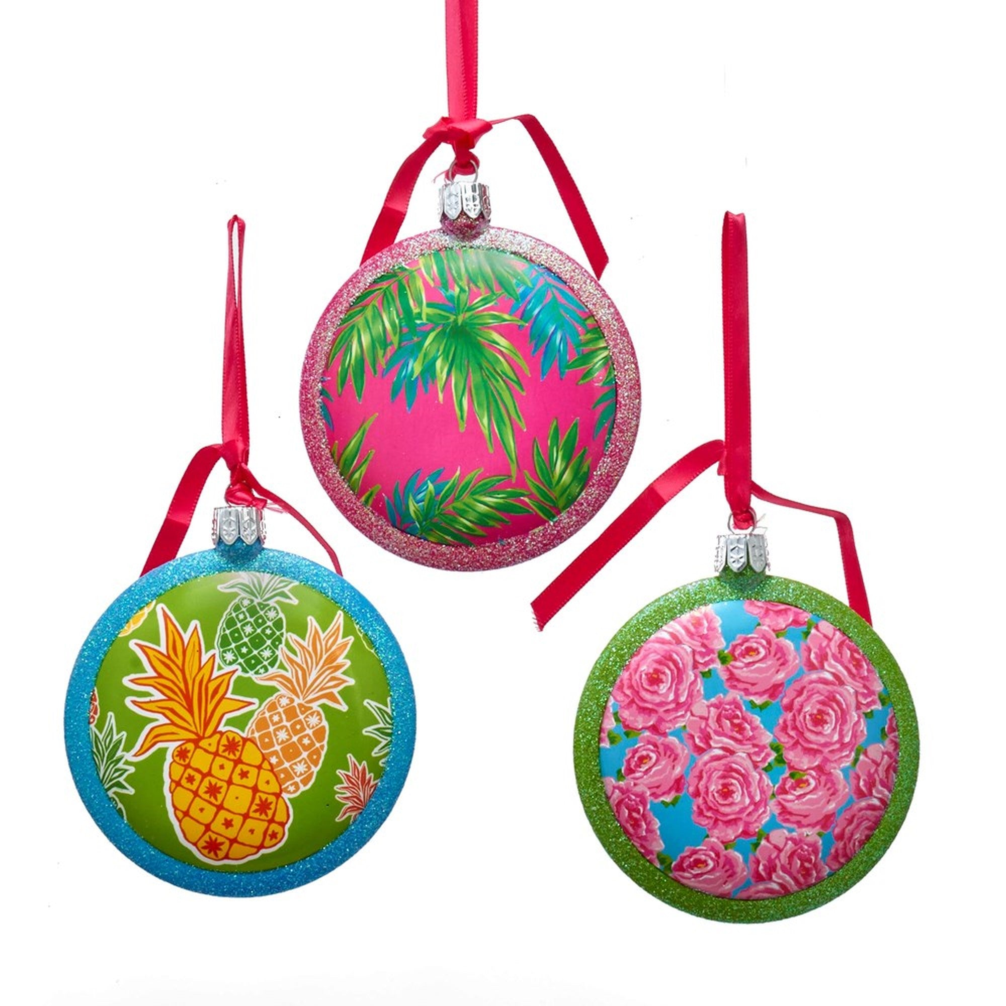 Kurt Adler Bright Tropical Patterned Disc Ornaments | Putti Christmas Canada