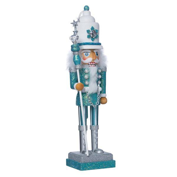Kurt Adler Turquoise and White Glitter Nutcracker Soldier | Putti Christmas
