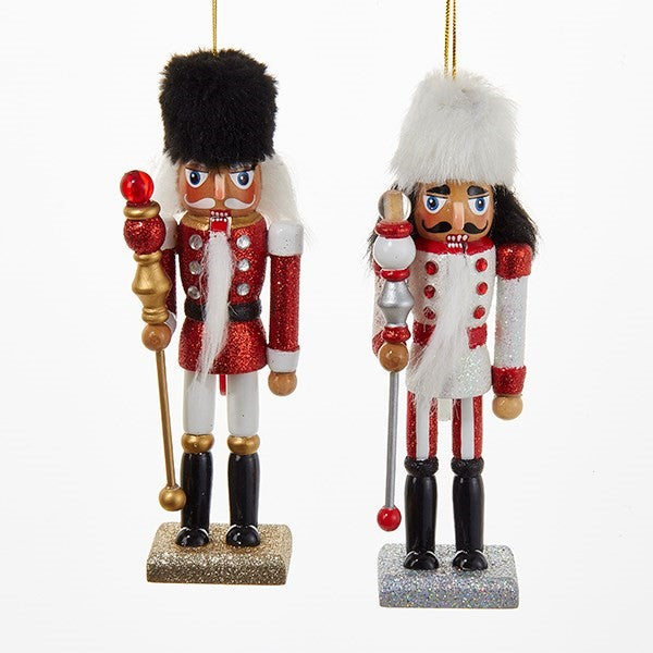 Red and White Soldier with Fur Hat Nutcrackers | Putti Christmas Decorations