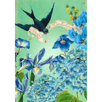 """Happy Birthday"" Blue Garden Greeting Card"
