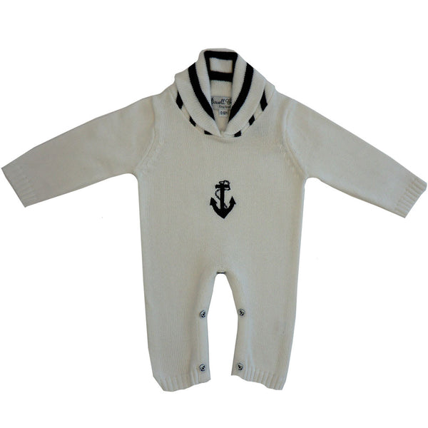 Anchor Knitted Long Sleeve Jumpsuit - 6-12 Months Children's Clothing - Powell Craft Uk - Putti Fine Furnishings Toronto Canada