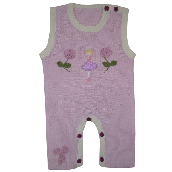 Ballerina Knitted Jumpsuit - 0 to 6 months Children's Clothing - Powell Craft Uk - Putti Fine Furnishings Toronto Canada