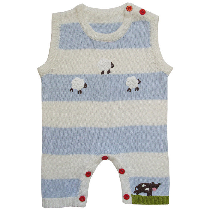 Farmyard Knitted Jumpsuit-Children's Clothing-PC-Powell Craft Uk-0 to 6 months-Putti Fine Furnishings