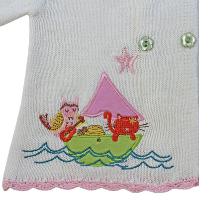 Owl and the Pussy Cat Pram Coat -  Children's Clothing - Powell Craft Uk - Putti Fine Furnishings Toronto Canada - 3