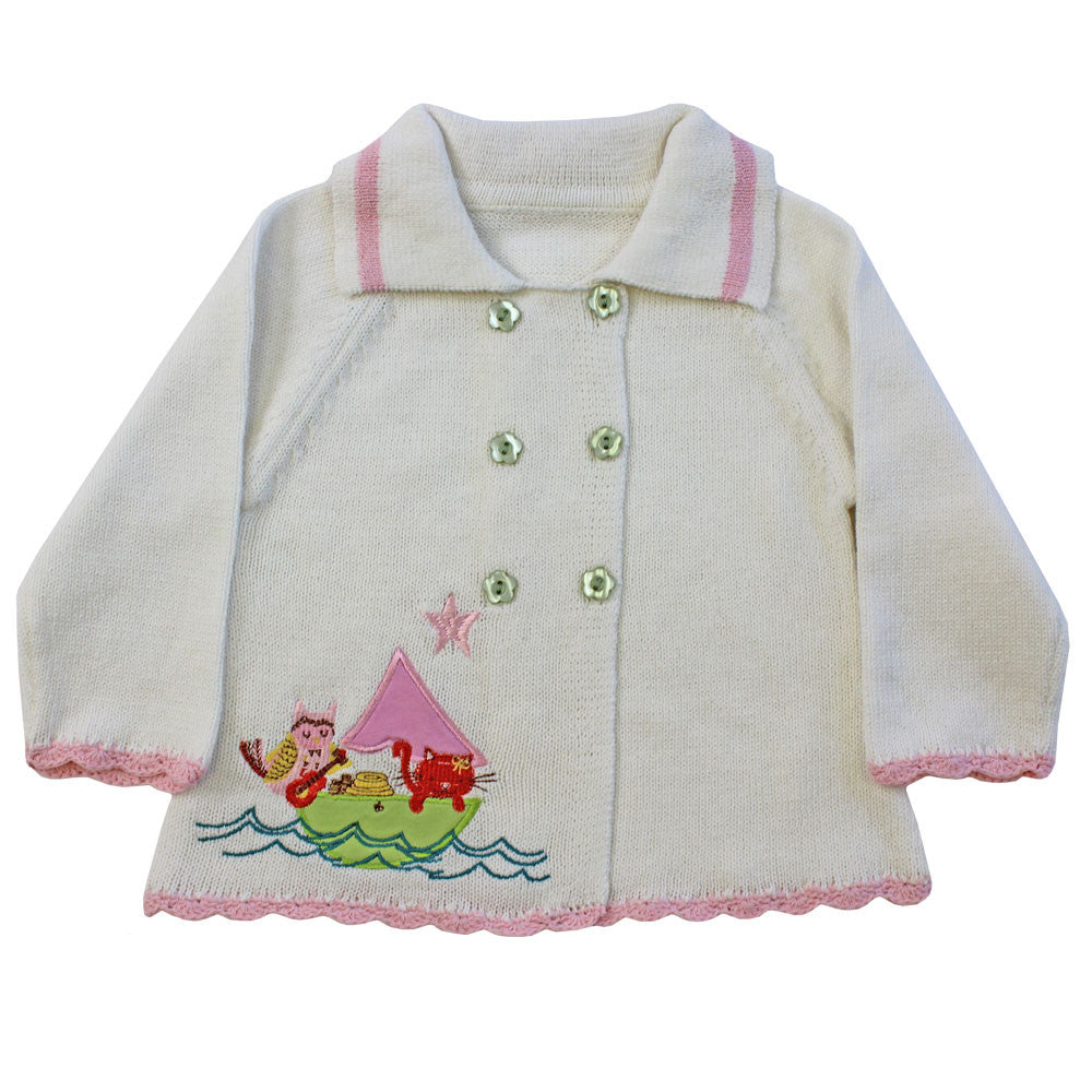 Owl and the Pussy Cat Pram Coat - 0 to 6 months Children's Clothing - Powell Craft Uk - Putti Fine Furnishings Toronto Canada - 1
