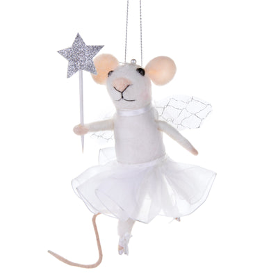 Mouse Fairy with Starry Wand Felted Ornament  | Putti Christmas Canada