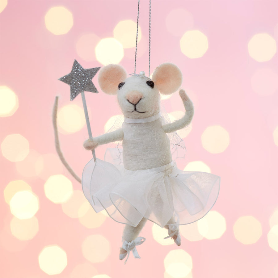 Mouse Fairy with Starry Wand Felted Ornament