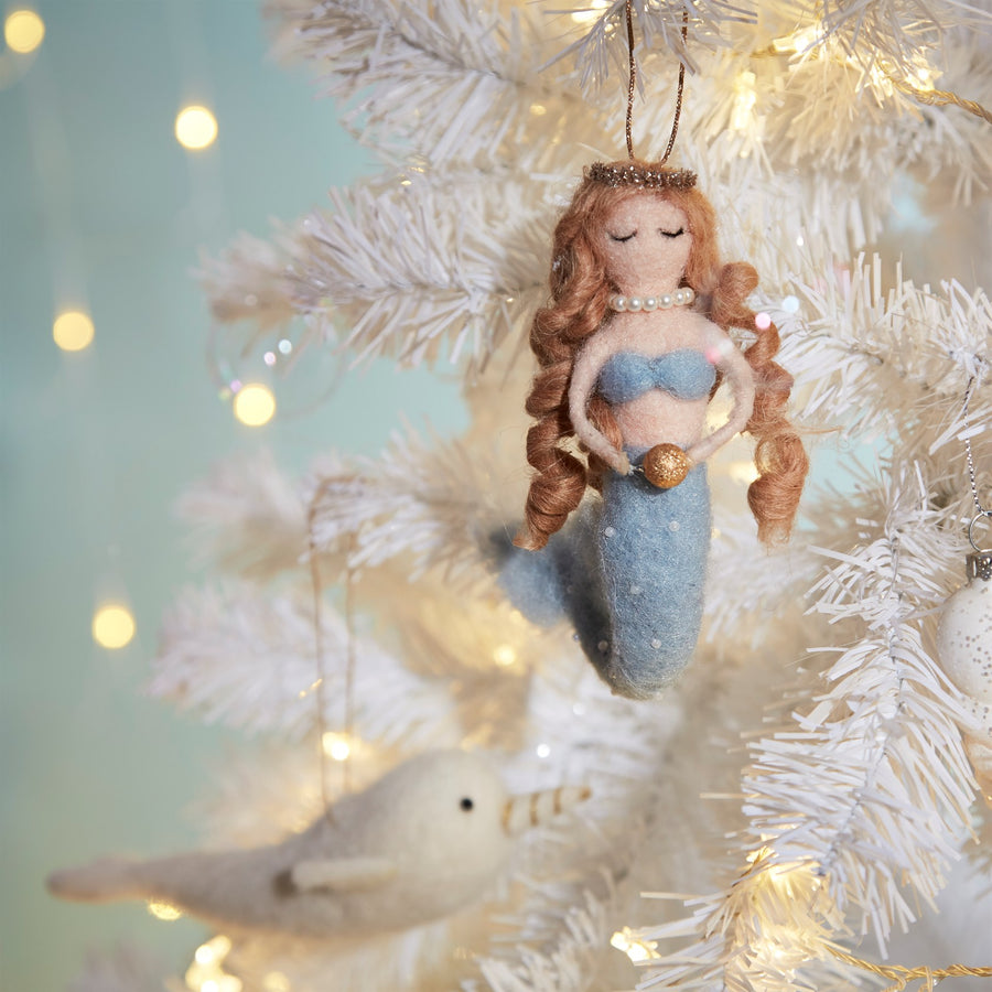 Golden Pearl Mermaid Felted Ornament