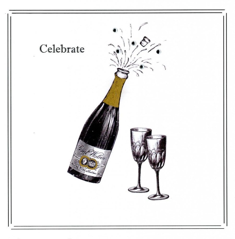 """Celebrate"" Champagne Bottle Greeting Card"
