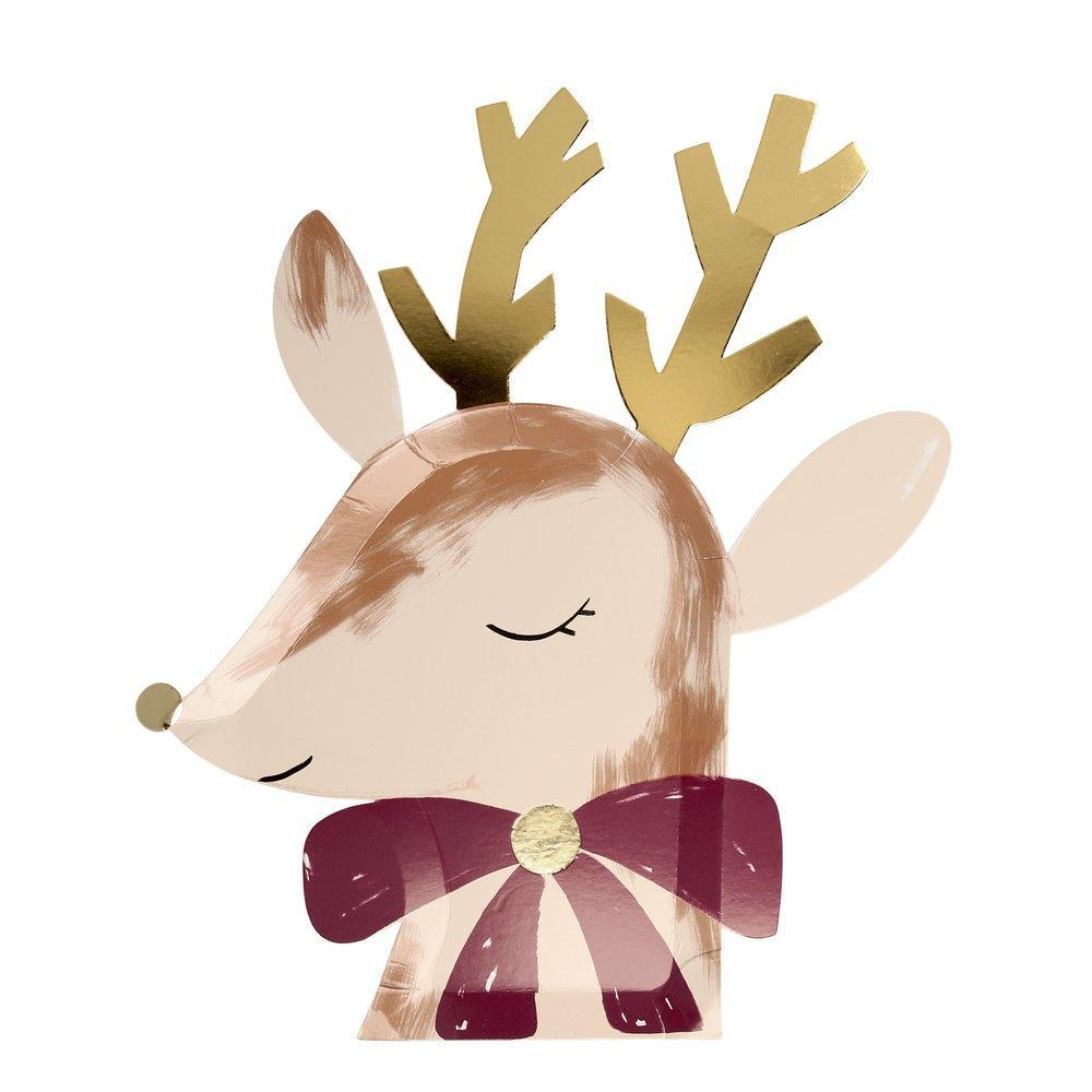 Meri Meri Reindeer With Bow Paper Plates | Putti Christmas Party Canada