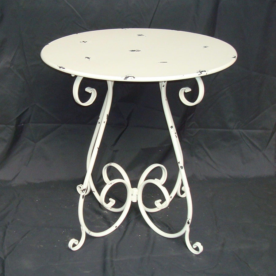 Round White Metal Bistro Table