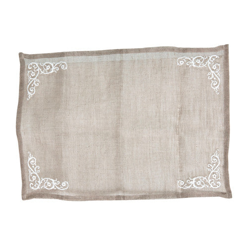 Embroidered Linen Voile Placemat-Tableware-Coach House-Putti Fine Furnishings
