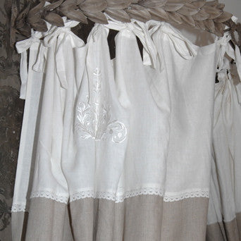 Natural and White Embroidered Linen Curtain, CH-Coach House, Putti Fine Furnishings
