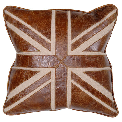 Leather Union Jack Pillow -  Pillow - Coach House - Putti Fine Furnishings Toronto Canada