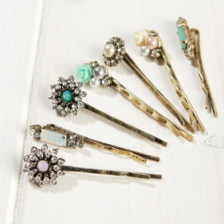 Lovett & Co Grace Hair Clips - Crystal & Brass