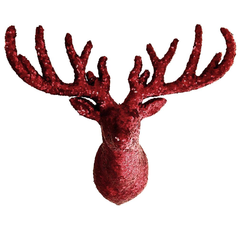 Burgundy Sequin Wall Mount Reindeer Head  | Putti Christmas Celebrations