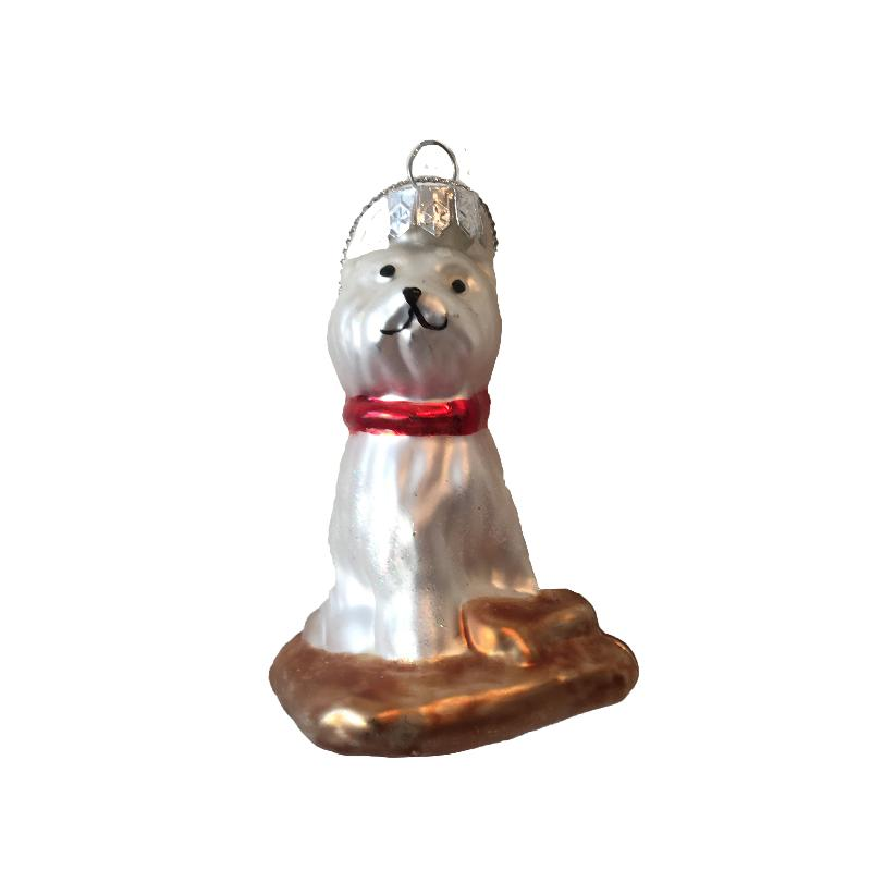 White Dog with Red Collar Glass Ornament | Putti Christmas