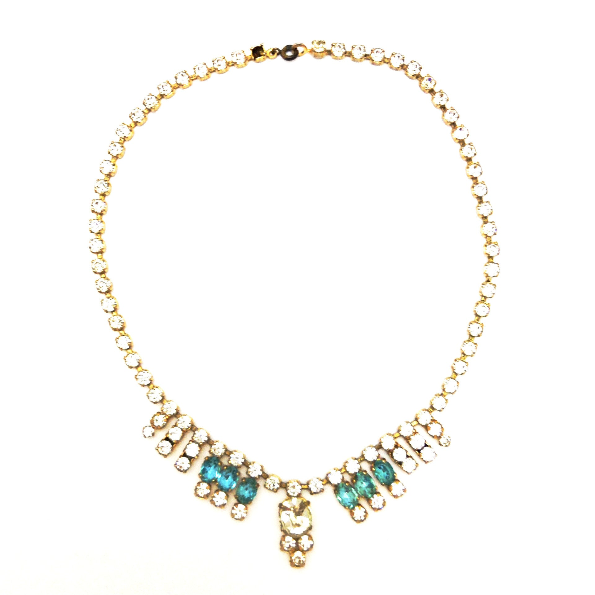 Vintage Aqua and Crystal  Necklace, Vintage, Putti Fine Furnishings