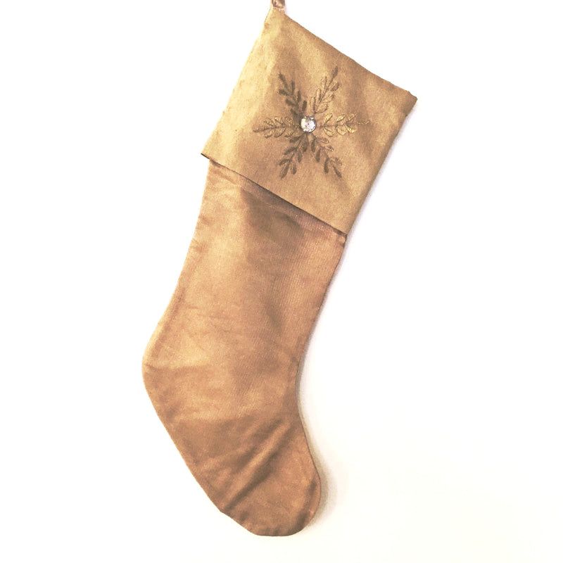 Gold Embroidered Snowflake Stocking -  Christmas - Floridus Design - Putti Fine Furnishings Toronto Canada