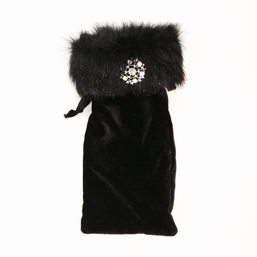 "Black Velvet and Fur ""Curiosity"" Wine Bag -  Christmas Decorations - WC-Windward Canada - Putti Fine Furnishings Toronto Canada"