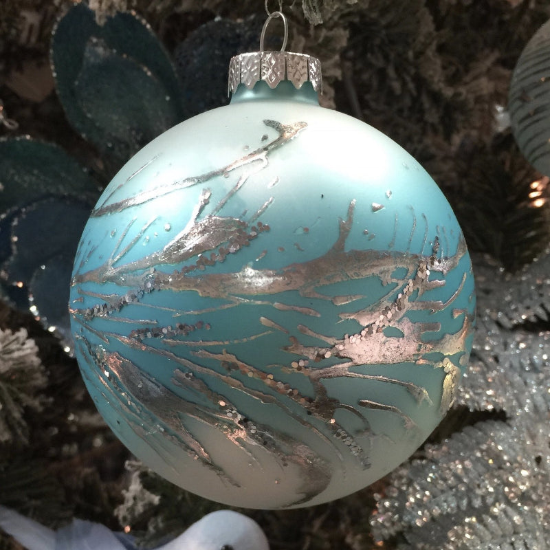 Glacier Blue Ball with Silver Twigs Glass Ornament