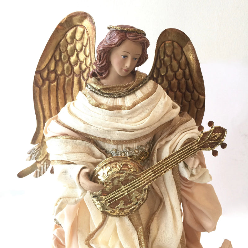 Angel with White Gown and Gold Mandolin -  Christmas Decorations - Christmas Tradition - Putti Fine Furnishings Toronto Canada - 3