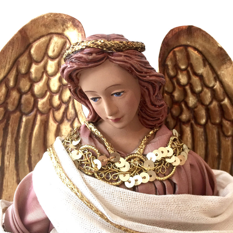 Angel with Dusty Pink Gown -  Christmas Decorations - Christmas Tradition - Putti Fine Furnishings Toronto Canada - 1