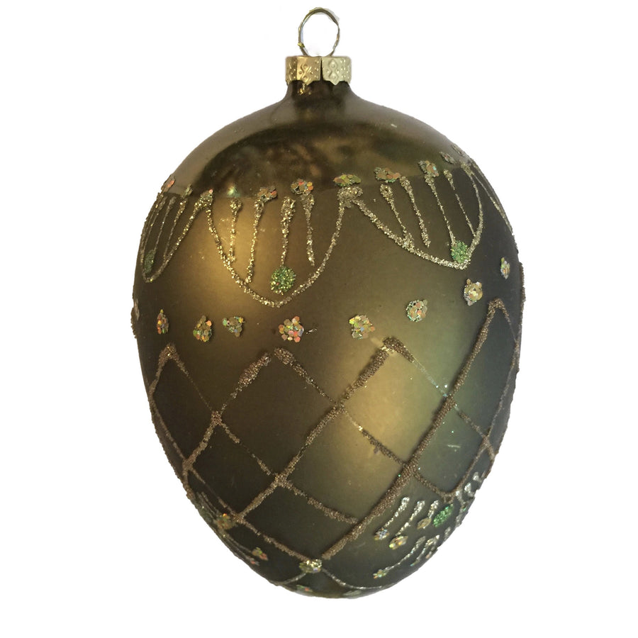 Olive Green and Gold Glass Egg Ornament